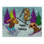 Vacaciones del esquí del perrito buenas fiestas postal