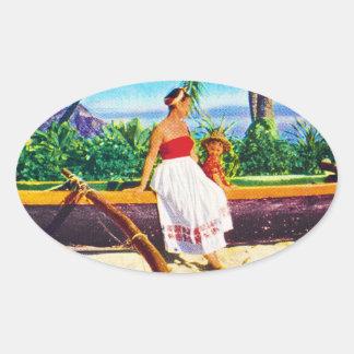 Vacaciones del Hawaiian del vintage Pegatina Ovalada
