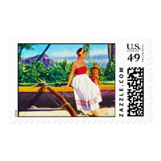 Vacaciones del Hawaiian del vintage Timbre Postal