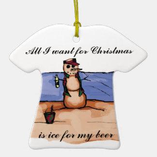 Vacaciones del navidad de la playa adorno de cerámica en forma de playera