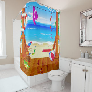 vacaciones del oceanview de la isla del paraíso de cortina de baño