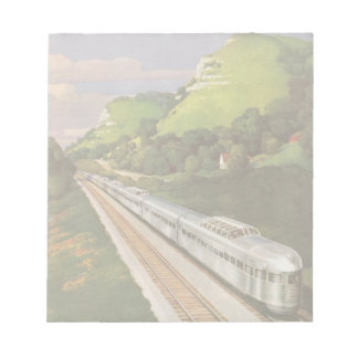 Vacaciones del vintage en tren, locomotora en país libreta para notas
