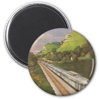 Vacaciones del vintage en tren, locomotora en país imán redondo 5 cm