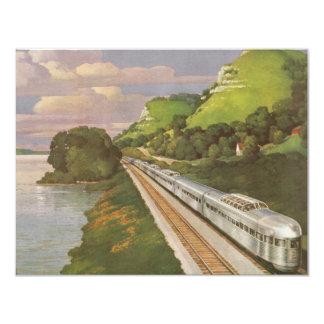 Vacaciones del vintage en tren, locomotora en país invitacion personal