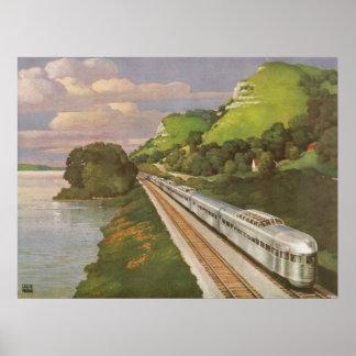 Vacaciones del vintage en tren, locomotora en país impresiones