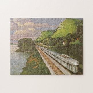 Vacaciones del vintage en tren, locomotora en país puzzle