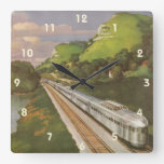 Vacaciones del vintage en tren, locomotora en país reloj de pared