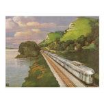 Vacaciones del vintage en tren, locomotora en país tarjetas postales