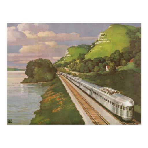 Vacaciones del vintage en tren, locomotora en país tarjeta postal