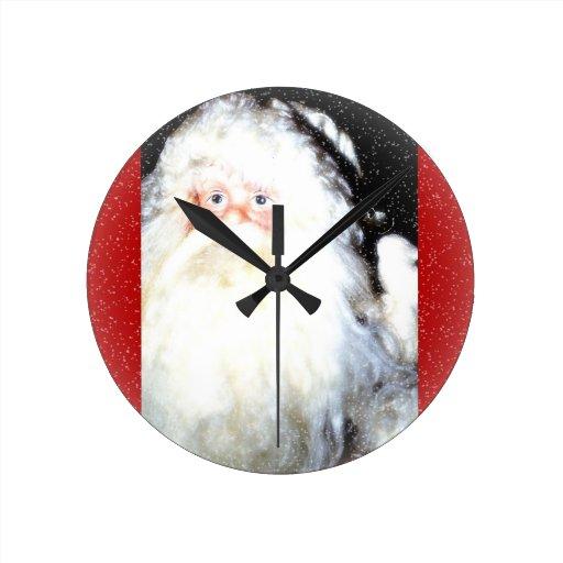 Vacaciones felices del santo Nick Relojes De Pared