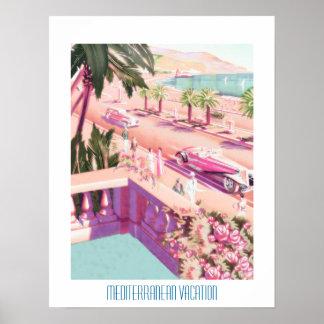 Vacaciones mediterráneas del poster del viaje del