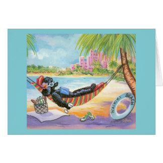 Vacaciones negras del caniche en Hawaii Tarjeton