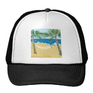 Vacaciones tropicales de la hamaca de la playa del gorros bordados