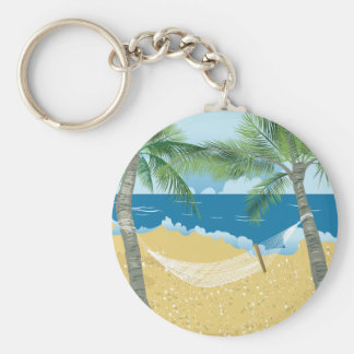 Vacaciones tropicales de la hamaca de la playa del llavero redondo tipo pin