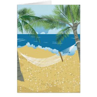 Vacaciones tropicales de la hamaca de la playa del tarjeton