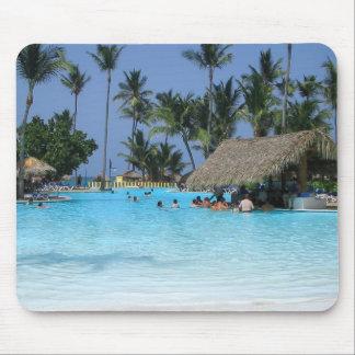 Vacaciones tropicales de la piscina tapete de raton