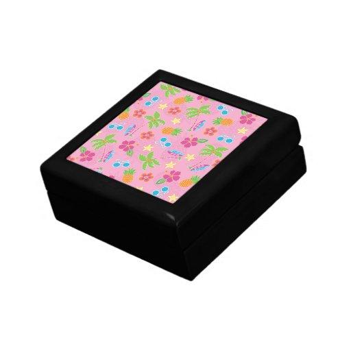 Vacaciones tropicales en modelo rosado cajas de regalo