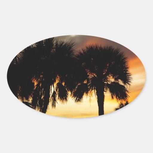 Vacaciones tropicales pegatina ovalada