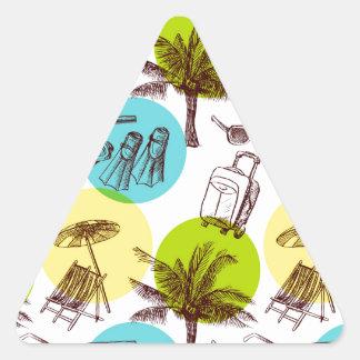 Vacaciones tropicales pegatina triangular