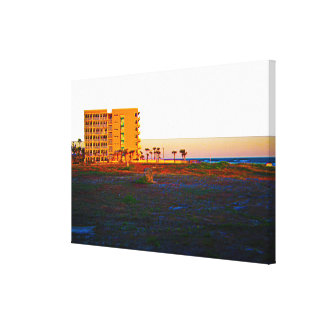 Vacant Lot Next To Beach and Resort At Sunrise Canvas Print