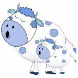Vacas azules del canto esculturas fotográficas