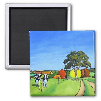 Vacas blancos y negros por el carril del país imán cuadrado