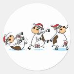 Vacas de Breakdancing en el navidad Pegatinas Redondas
