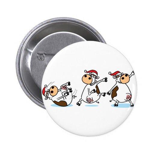 Vacas de Breakdancing en el navidad Pin Redondo 5 Cm