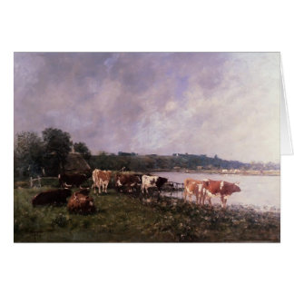 Vacas de Eugene Boudin- en los Riverbanks del Touq Tarjeta De Felicitación