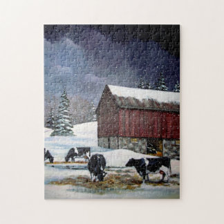 Vacas de Holstein en el corral Nevado: Pintura Puzzle