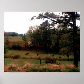Vacas de la granja del paisaje de CricketDiane en  Poster