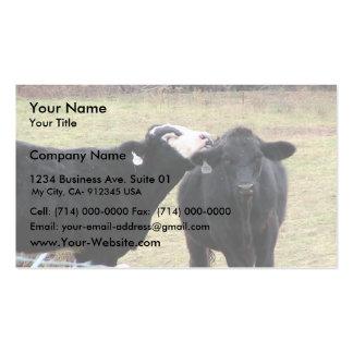 Vacas de la madre que lamen a su niño plantillas de tarjetas de visita