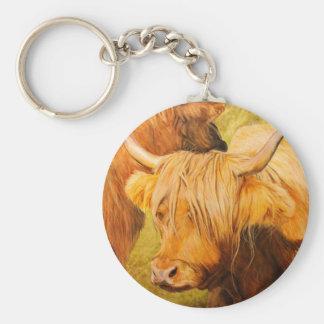 Vacas de la montaña, ganado escocés llavero redondo tipo pin