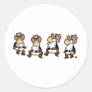 Vacas de Linedancing Etiquetas Redondas