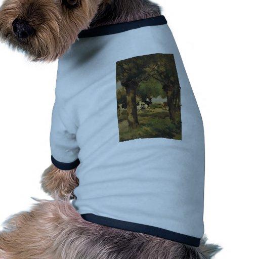Vacas de ordeño en sauces de Johan Weissenbruch Camiseta Con Mangas Para Perro