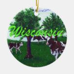 Vacas de Wisconsin Adorno Navideño Redondo De Cerámica