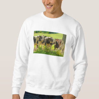 Vacas debajo del árbol en el campo de granja, suéter