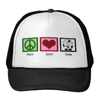 Vacas del amor de la paz gorros
