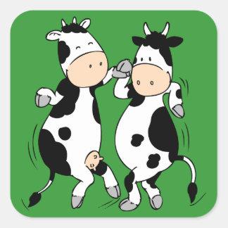 Vacas del baile (mooviestars) pegatina cuadrada