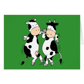 Vacas del baile (mooviestars) tarjeta de felicitación