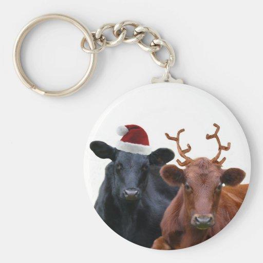 Vacas del día de fiesta del navidad en el gorra y  llavero redondo tipo pin