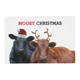 Vacas del navidad de Mooey en el gorra y las astas Tapete Individual