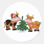 Vacas del navidad etiqueta redonda