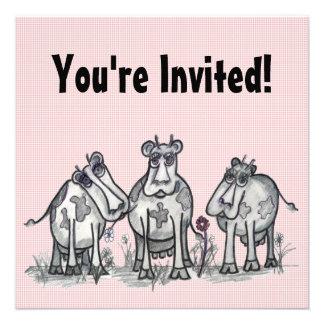 Vacas del país del dibujo animado invitación