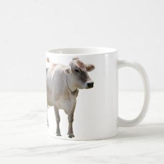 Vacas del suizo de Brown Taza Básica Blanca