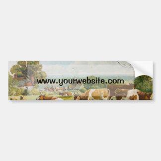 Vacas del vintage en una postal del campo pegatina para auto