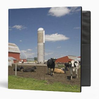 Vacas delante de un granero y de un silo rojos en