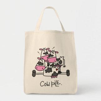 Vacas divertidas bolsa tela para la compra