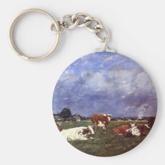 Vacas en el pasto de Eugene Boudin Llavero Redondo Tipo Pin
