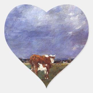 Vacas en el pasto de Eugene Boudin Pegatina En Forma De Corazón